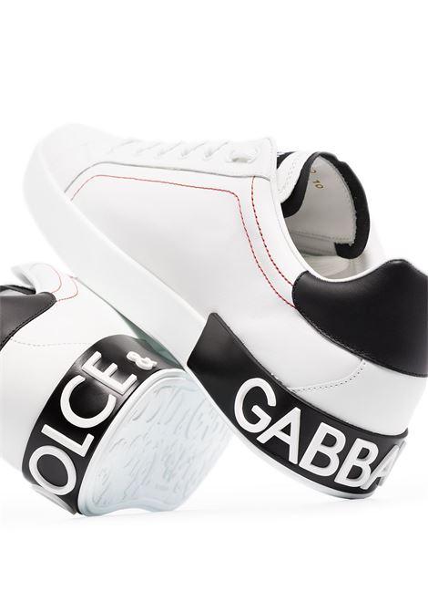 sneakers Portofino in pelle di vitello bianca con dettagli neri a contrasto DOLCE & GABBANA | Sneakers | CS1760-AH52689697