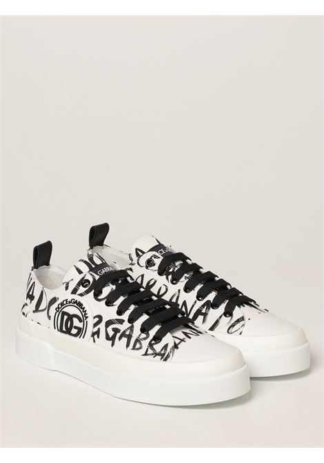 White and black cotton and leather low-top sneakers  DOLCE & GABBANA |  | CS1888-AO779HASBN