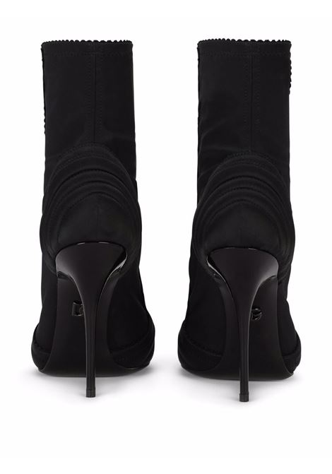 leather and satin black ankle-lenght peep-toe boots  DOLCE & GABBANA      CT0746-AQ0358B956