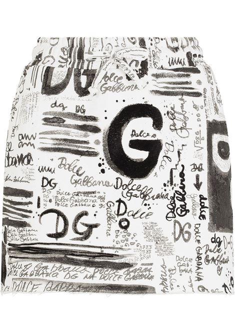 White and black  all over Dolce & Gabbana logo-print mini skirt  DOLCE & GABBANA |  | F4B7DT-G7A4KHASAN