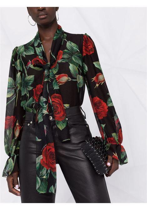 Blusa semitrasparente in seta nera con stampa rose rosse DOLCE & GABBANA | Camicie | F5N69T-IS1JBHN2ZO