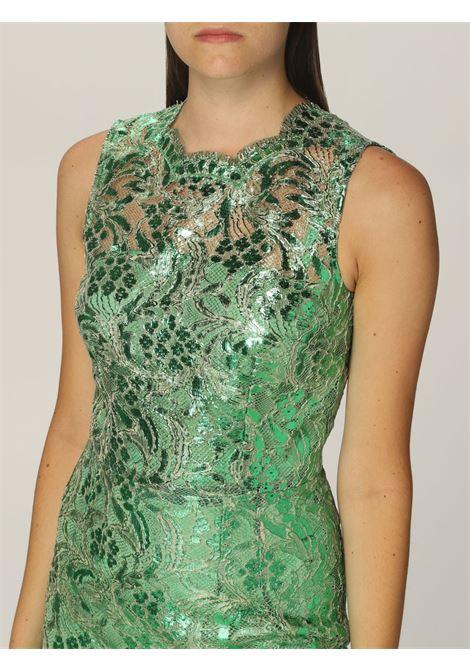 Long sleeveless sheath dress in scalloped green laminated lace  DOLCE & GABBANA      F65RVT-HLM4TV0402