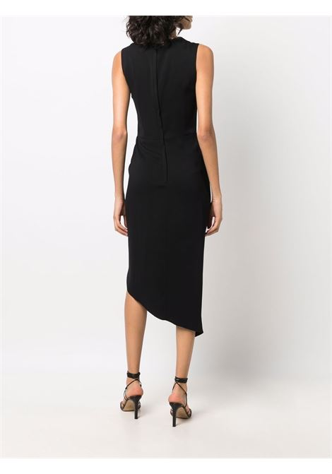 Black sleeveless asymmetric dress featuring draped detailing DOLCE & GABBANA      F6R1IT-FURC8N0000