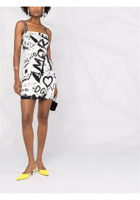 miniabito smanicato in seta bianca e nera con stampa graffiti DOLCE & GABBANA | Abiti | F6R3CT-FSA1LHASPN