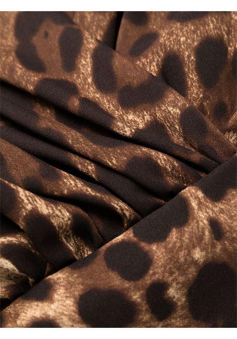 Abito marrone in seta con stampa leopardata con scollo a V DOLCE & GABBANA   Abiti   F6R7GT-FSADDHY13M