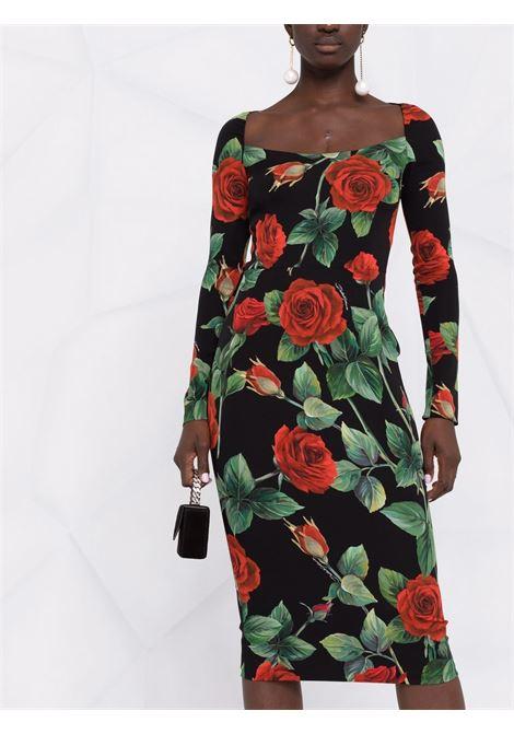 Abito nero in seta con scollo rotondo stampa rose DOLCE & GABBANA | Abiti | F6R8OT-FSA1JHN2ZO