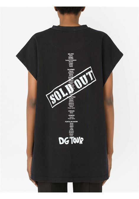 Black cotton Fashion Tour T-shirt featuring DG logo print  DOLCE & GABBANA      F8N82T-G7BETHN3CI
