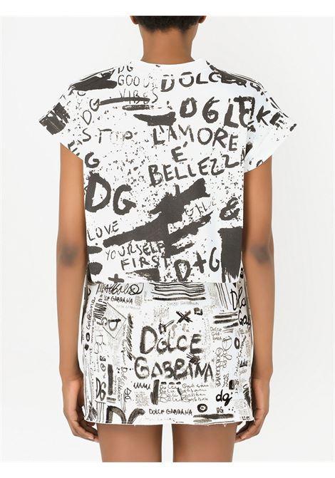 T-shirt corta in cotone bianco e nero con stampa graffiti DOLCE & GABBANA | T-shirt | F8N87T-G7BEMHASPN