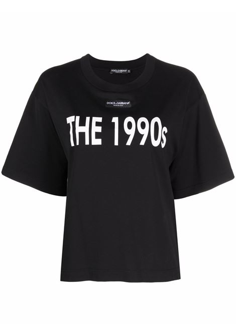 T-shirt The 1990's in cotone nero con spalle scese DOLCE & GABBANA | T-shirt | F8O48T-G7BGOHN3FR