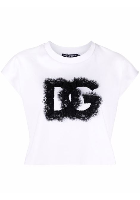 T-shirt corta in cotone bianco con decorazione in pizzo DG DOLCE & GABBANA | T-shirt | F8O55Z-G7BFJW0800
