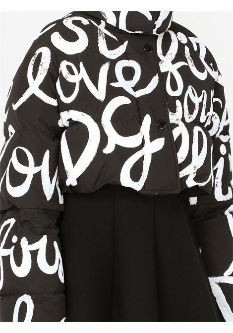 Giubbino imbottito corto con stampa graffiti in bianco e nero DOLCE & GABBANA | Giubbini | F9K65T-G7A5QS9000