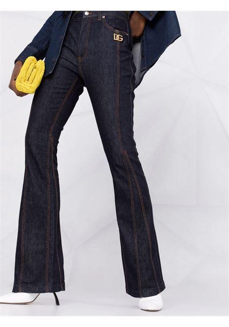 Dark blue cotton DG logo plaque flared jeans  DOLCE & GABBANA |  | FTB4ED-G901IS9001