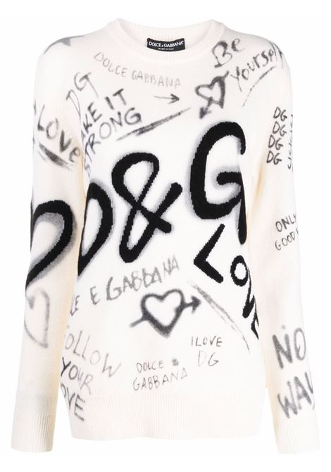 Maglione in lana vergine bianco con stampa graffiti all over DOLCE & GABBANA | Maglieria | FXD08T-JBVK7S9000