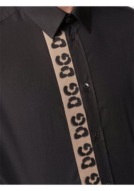 Black cotton shirt featuring vertical brown DG logo stripe embroidery DOLCE & GABBANA |  | G5EJ1Z-GEU22N0000