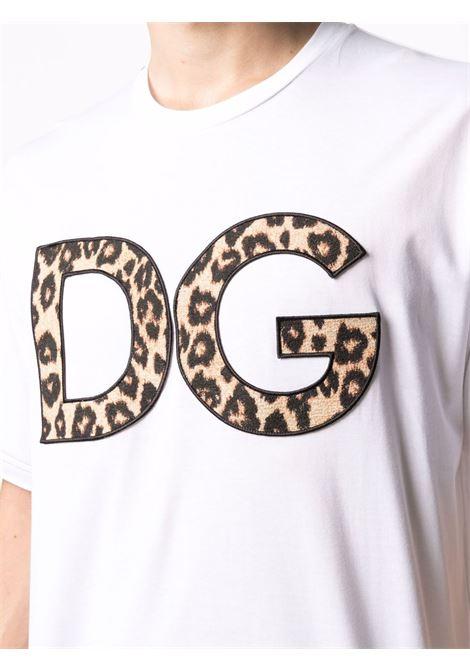 White cotton DG leopard-print logo T-shirt featuring crew neck DOLCE & GABBANA |  | G8NA7Z-FU7EQW0800