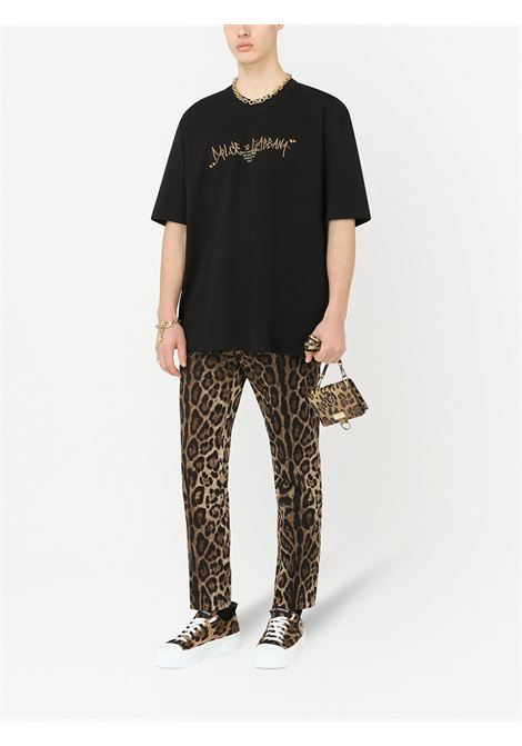 T-shirt nera in cotone con logo Dolce & Gabbana ricamato sul petto DOLCE & GABBANA | T-shirt | G8NB6Z-HU7IHHN2XZ
