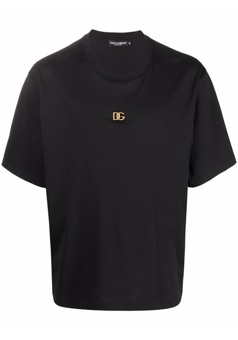 Black cotton T-shirt featuring gold-tone DG logo plaque DOLCE & GABBANA |  | G8NC5Z-G7A0WN0000
