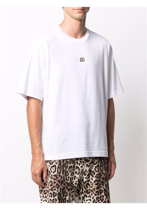 White cotton short-sleeve T-shirt featuring DG gold logo plaque DOLCE & GABBANA |  | G8NC5Z-G7A0WW0800