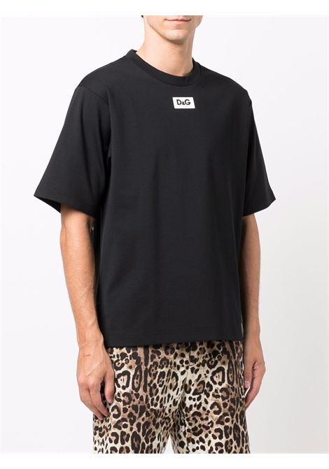 Black cotton short-sleeve T-shirt featuring D&G logo  DOLCE & GABBANA |  | G8NE8T-FUGK4N0000
