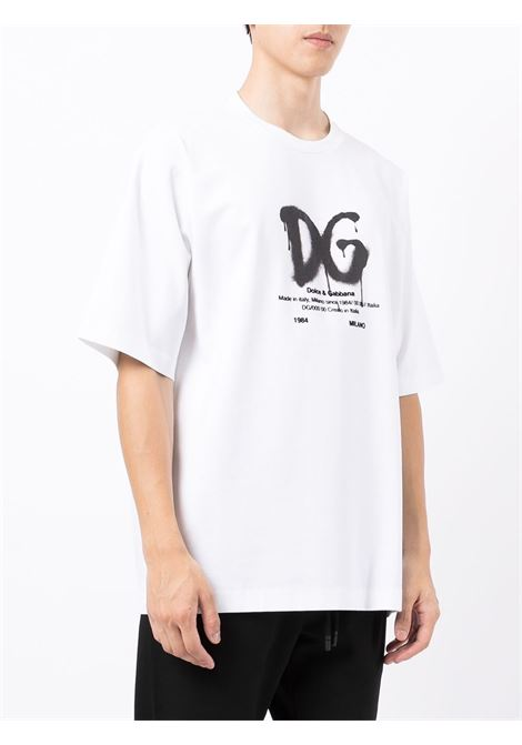 T-shirt in cotone bianco con stampa graffiti DOLCE & GABBANA | T-shirt | G8NG3T-FUGK4HA3BN