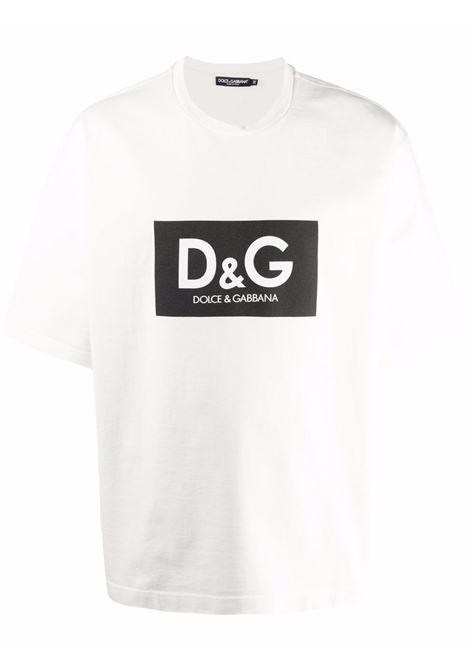 White cotton T-shirt featuring D&G black box logo at the chest DOLCE & GABBANA |  | G8NG4T-HU7ILHA3AP