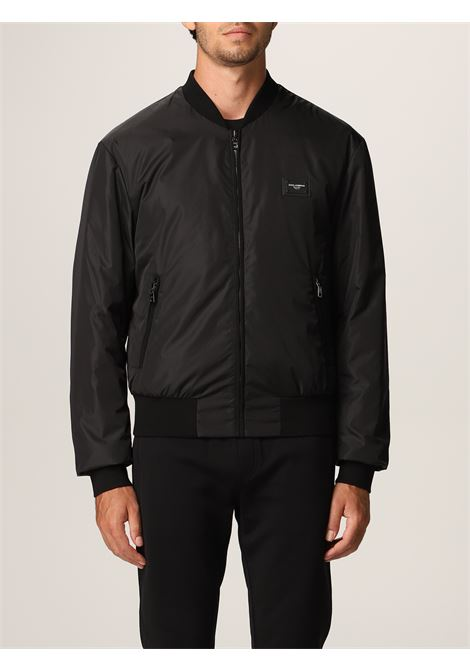 black bomber jacket with front Dolce & Gabbana logo plaque DOLCE & GABBANA |  | G9OW1T-FUMQGN0000