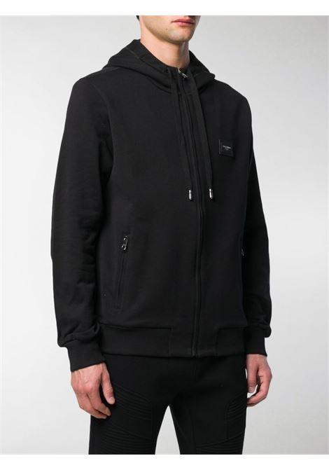 Felpa nera in cotone con cappuccio con coulisse e logo DG DOLCE & GABBANA | Felpe | G9PD2T-FU7DUN0000