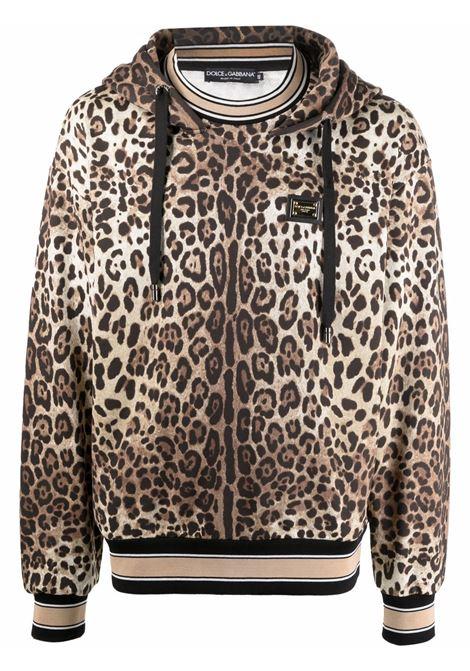 leopard print cotton hoodie featuring Dolce & Gabbana logo plaque DOLCE & GABBANA |  | G9UY7T-HS7EFHA93M