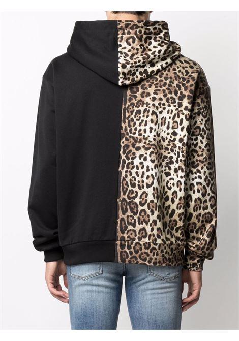 Black and leopard-print spliced DG logo hoodie  DOLCE & GABBANA |  | G9VQ4Z-FU7DUHA93M