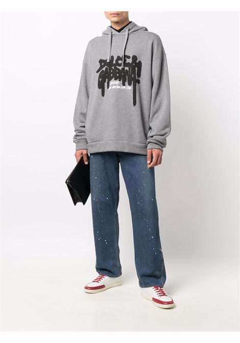 Felpa grigia con cappuccio con  stampa graffiti Dolce & Gabbana DOLCE & GABBANA | Felpe | G9VU7T-FU77GHI3AQ