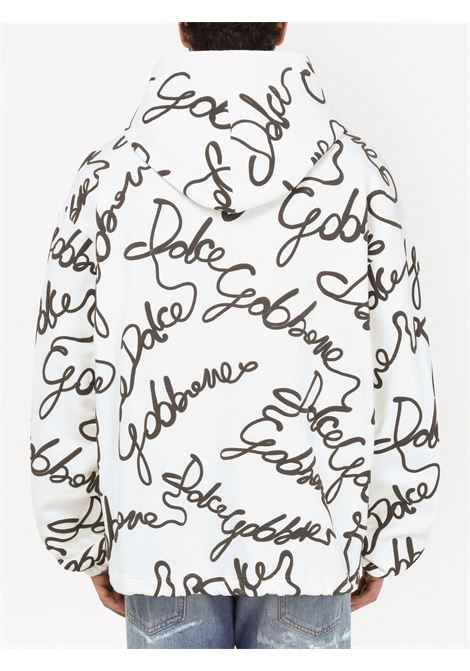 Felpa bianca con cappuccio con stampa all-over Dolce & Gabbana DOLCE & GABBANA | Felpe | G9VU9T-FU77GHASNN