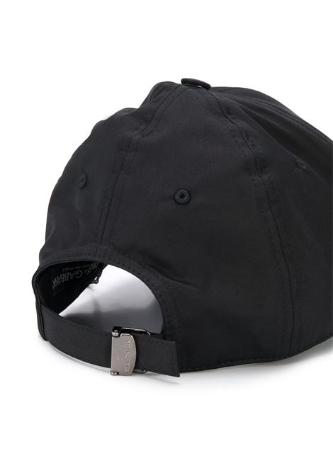 berretto nero in cotone con toppa in pelle con logo Dolce & Gabbana DOLCE & GABBANA | Cappelli | GH590A-FUFJRN0000