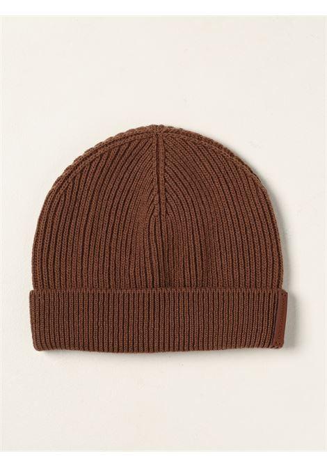 Berretto a coste fini in lana vergine marrone noce DOLCE & GABBANA | Cappelli | GXE84T-JAV99M0180