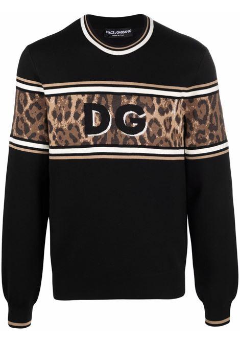 Maglia nera in lana con logo Dolce & Gabbana su pannello leopardato DOLCE & GABBANA | Maglieria | GXG36T-JBVB0S9000