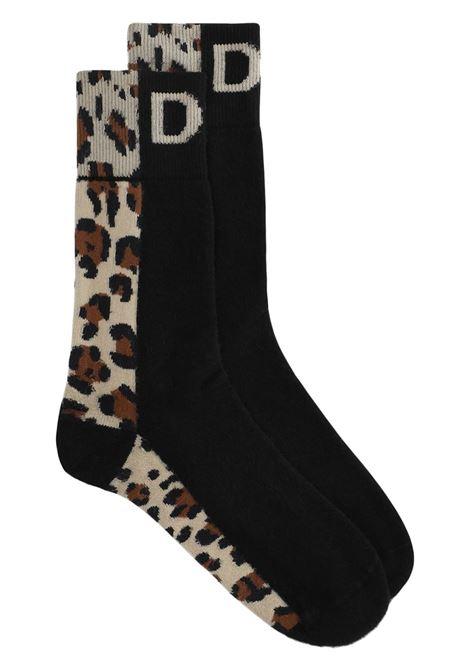 Calzini neri in cotone leopardato con logo Dolce & Gabbana in maglia DOLCE & GABBANA | Calze | GXG42T-JACJXS9000