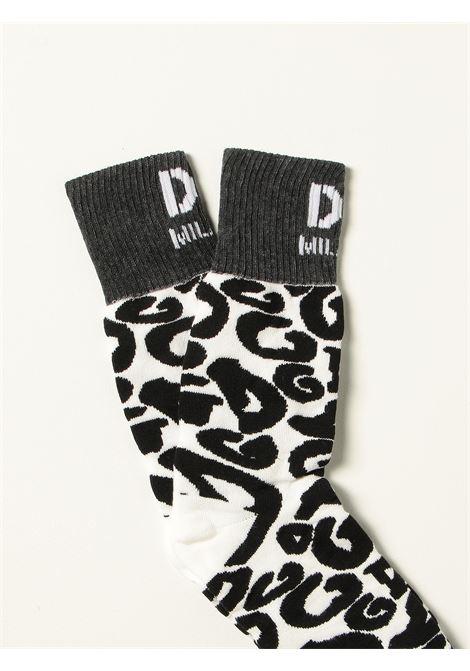 Calzini con logo Dolce & Gabbana in maglia di cotone bianco e nero DOLCE & GABBANA | Calze | GXG55T-JACKVS9000