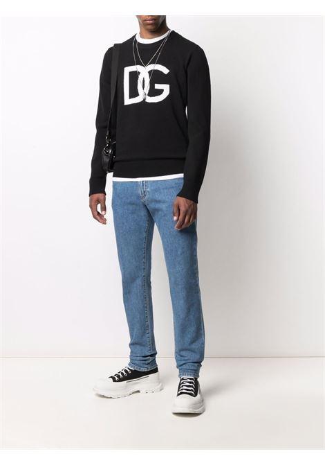 Maglione nero in lana vergine con logo Dolce & Gabbana in jacquard DOLCE & GABBANA | Maglieria | GXG73T-JAW9KS9000