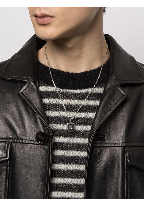 Collana in ottone argento e smalto nero con logo DG DOLCE & GABBANA | Collana | WNN5B8-W111187655