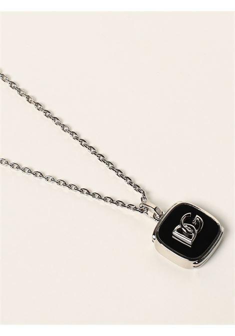 Collana in ottone argento e smalto nero con logo DG DOLCE & GABBANA   Collana   WNN5B8-W111187655