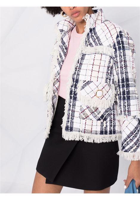 white and dark grey cotton checked fringe-trimmed tweed jacket  EDWARD ACHOUR PARIS |  | 010103-005BIANCO-NERO