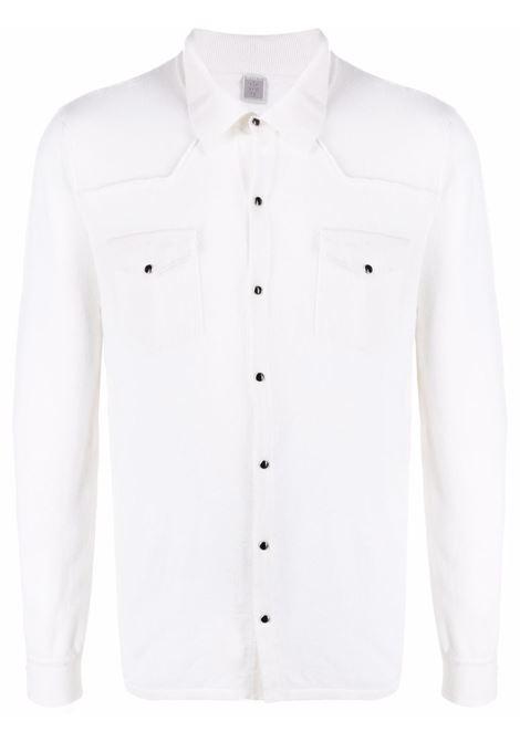 Camicia in cashmere bianco brillante con bottoni ELEVENTY | Maglieria | C76MAGB30-MAG2400601N
