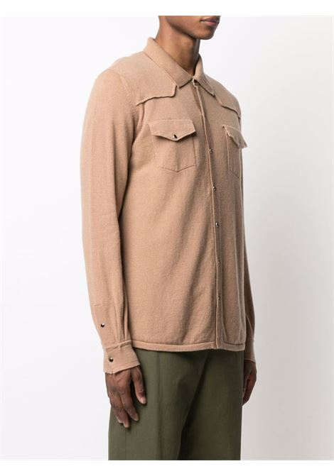 Camicia marrone in cashmere con cuciture a vista ELEVENTY | Maglieria | C76MAGB30-MAG2400604N