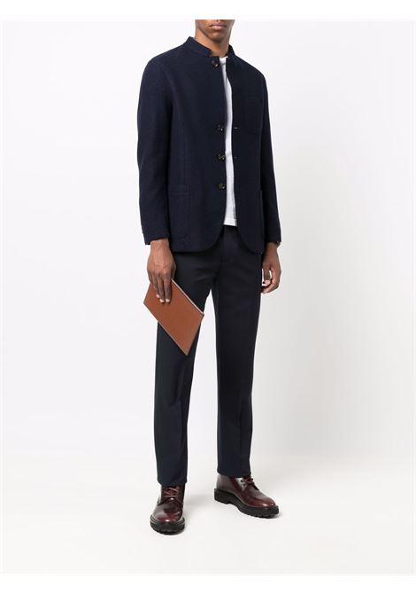Giacca monopetto in lana blu navy con collo alla coreana ELEVENTY | Giacche | D70CAPD04-TES0D06211N