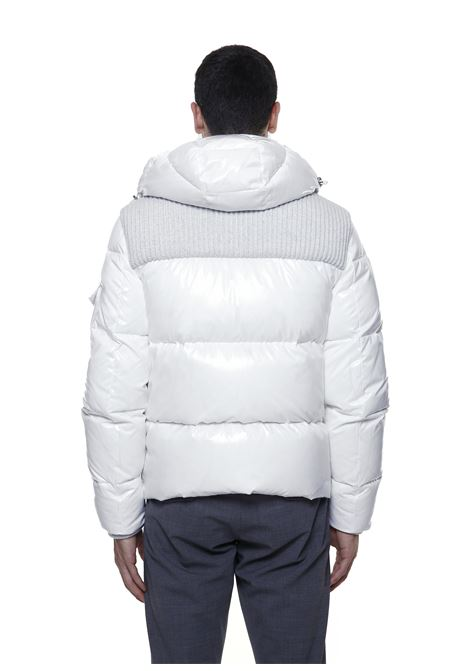 Piumino bianco con cappuccio Bimaterico in piuma d'oca ELEVENTY   Piumini   D70GBTD03-NYL0D00101