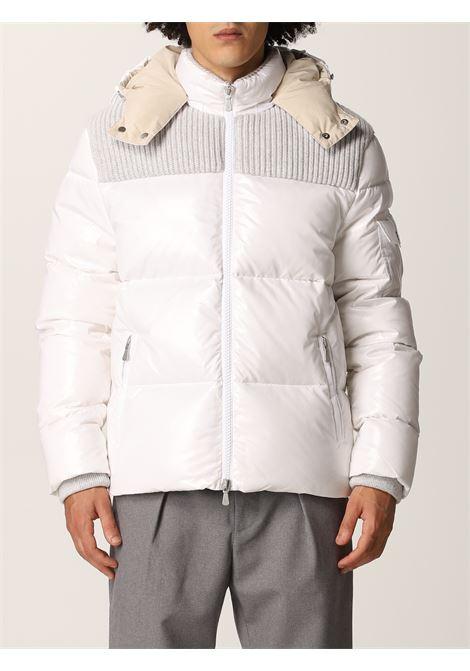 Piumino bianco con cappuccio Bimaterico in piuma d'oca ELEVENTY | Piumini | D70GBTD03-NYL0D00101