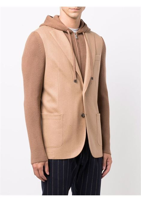 Camel brown wool hooded layered-look blazer  ELEVENTY |  | D70GIAD04-TES0D14004