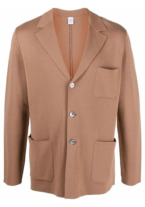 Camel brown virgin wool notched-lapels button-up cardigan ELEVENTY |  | D71GIAD02-MAG2401204A