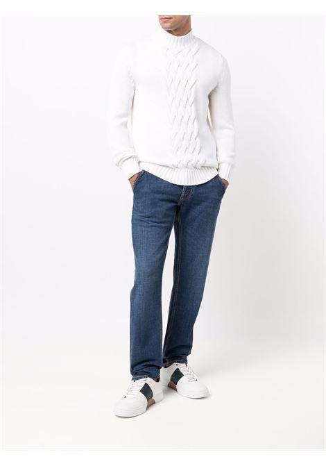 Maglione bianco in lana vergine con pannelli a trecce ELEVENTY | Maglieria | D71MAGD01-MAG2401200