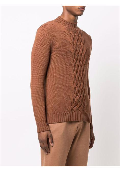 Maglione girocollo in lana vergine  marrone con lavorazione a trecce ELEVENTY | Maglieria | D71MAGD01-MAG2401204N
