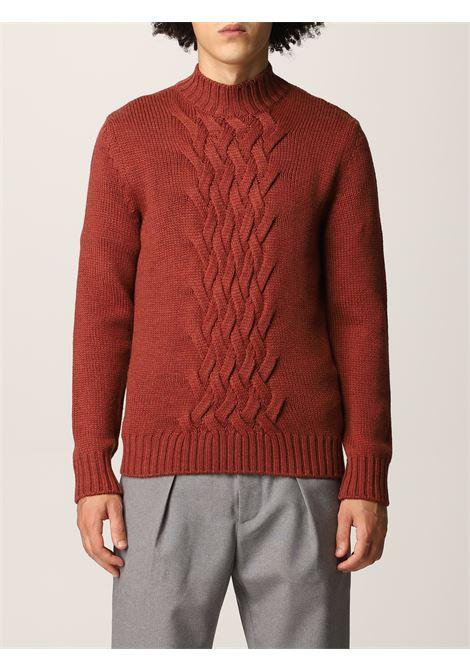 Maglipne con pannelli a trecce in lana vergine marrone ELEVENTY | Maglieria | D71MAGD01-MAG2401209N